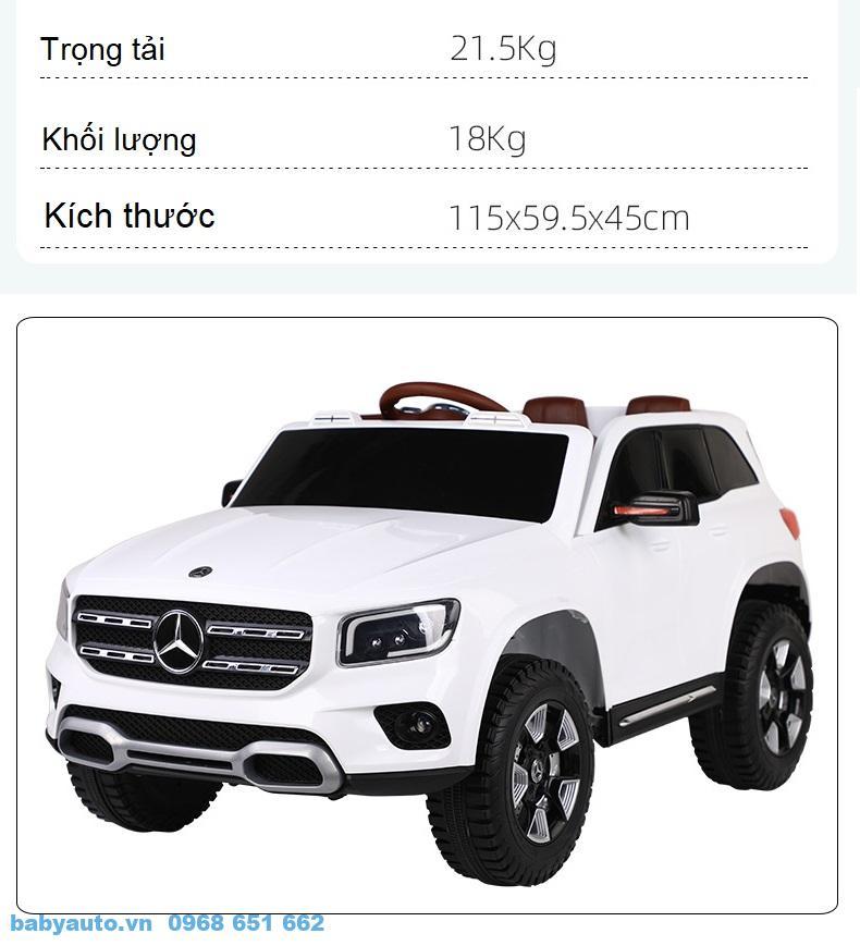 Kích thước và trọng tải của xe ô tô điện trẻ em Mercedes GLB BDQ 1021