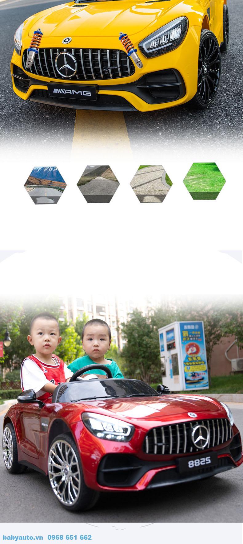 Xe trang bị bánh thiết kế chất liệu nhựa cao cấp cùng vành cao su giúp xe vận hành phù hợp mọi địa hình